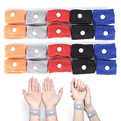 Cars Wristbands (WarmShine 20 Pack Anti Nausea Wrist Bands Anti Nausea Car Sea Sick Sickness Nausea Relief Acupressure Wrist Bands for Car Sea Van Plane, 5 Colors)