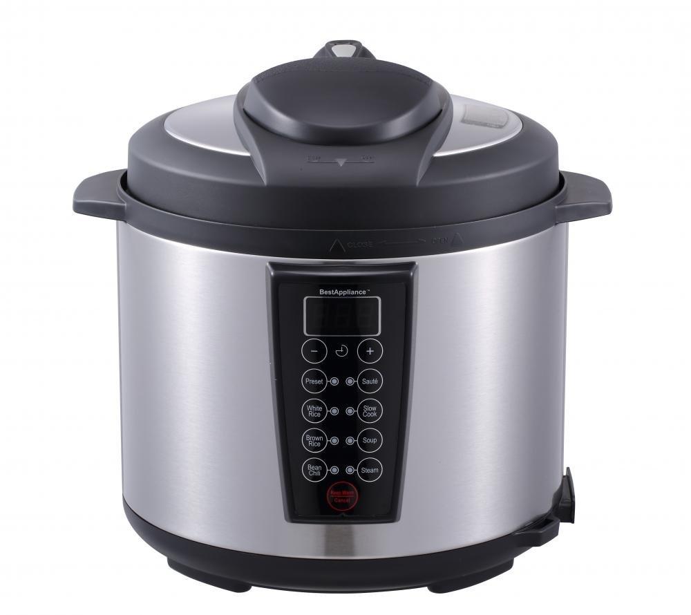 1000-Watt 6-Quart Electric Pressure Cooker, Slow Cooker, Rice Cooker, Stainless Steel