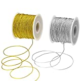 BTNOW 2 Spool 218 Yards/656 Feet Metallic Cord Tinsel String Craft Making Cord, Gold and Siver