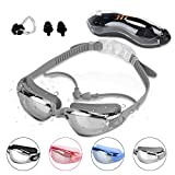 Peacoco Swim Goggles,Swimming Goggles with Mirror Lens UV Protection for Men Women Adult Youth Kids Girls Anti Fog No Leaking with Earplugs,Nose Clips and Case Silvery Grey