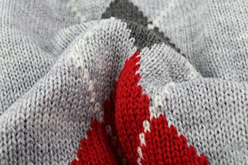 Image of Grey Argyle Knit Pet Sweaters Clothes for Small Dogs, Classic Gray Medium M Size