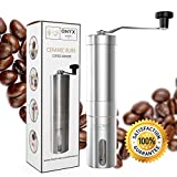 Onyx Kitchen Premium Ceramic Burr Manual Coffee Bean Grinder - Aeropress Compatible - Includes Bonus Carry Bag and Cleaning Brush - Eco Friendly - Stainless Steel, Portable, Durable, Adjustable Grind Settings