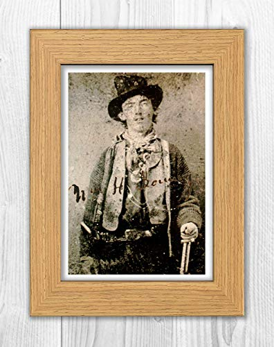 Engravia Digital William H Bonney Billy The Kid Reproduction Signature Poster Photo A4 Print(Oak Frame) ()