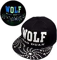 JKYJYJ Baseball Cap Men Women New Glow in The Dark Hat Print Wolf Snapback Hats Adjustable Hip Hop Fluorescent