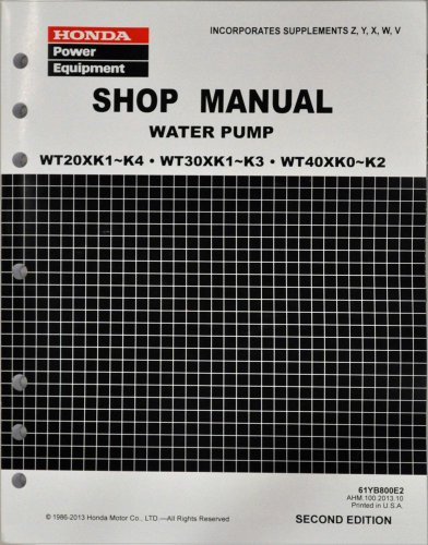 Honda WT20 WT30 WT40 WT20X WT30X WT40X Water Pump Service Repair Shop Manual