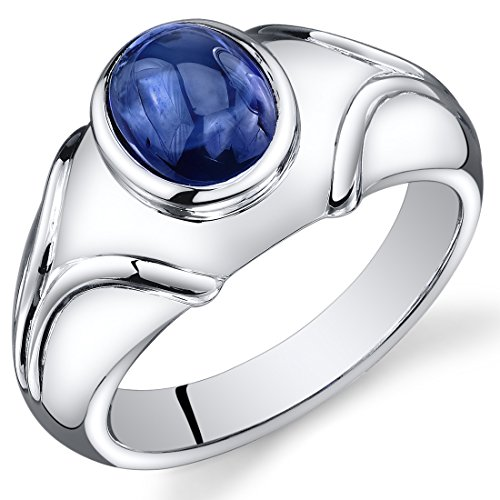 Sapphire Cabochon Ring (Mens Created Sapphire Cabochon Ring Sterling Silver Rhodium Nickel Finish 3.50 Carats Size 8)