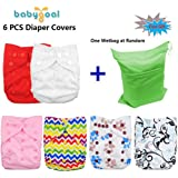Babygoal Cloth Diaper Covers, Baby Adjustable Reuseable Covers, Cloth Diaper Cover for Fitted Diapers and Prefolds, Baby Girl Clothes, 6pcs Covers 6DCF01