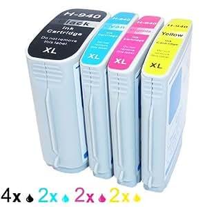 Genérico Cartucho de tinta compatible para usar en lugar de HP 940XL BK 940XL C 940XL M 940XL Y ( 4x Negro, 2x Cian, 2x Magenta, 2x Amarillo, 10 pack de)