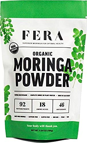 100% Pure Raw Organic Moringa Leaf Superfood Powder 5.64 oz - Ultra Potent Plant Sourced Omegas, Phytonutrients, Amino Acids, Iron, Potassium - Energy Boosting Antioxidant Supplement by FERA Moringa