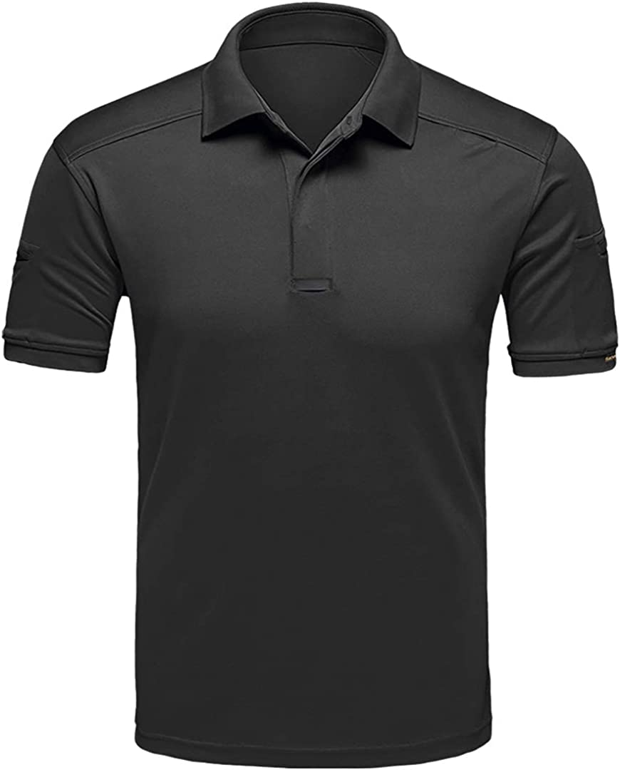 CARWORNIC Men's Tactical Shirt Quick Dry Short Sleeve Sport Polo Shirt Army Military Outdoor T- Shirt: Clothing