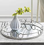 Round Mirrored Tray Beautiful Decorative Clear Glass Metal Vanity Trays Silver Round Mirror Cosmetics Organizer Chrome Rails Home Wall Table Top Accent Centerpiece Serveware Gifts for Women