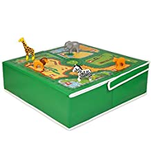Foldaway Children's Zoo Storage Box / Fold away Zoo Play Table / Table Space-Saver. Doubles Lid for Use as a Storage Box. by Pop It Up