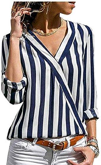 Camisa de Mujer de Rayas, Manga Larga, Trabajo Irregular, Camisa de Oficina, Camisa a Rayas de Gasa con Cuello en v para Mujer: Amazon.es: Ropa y accesorios