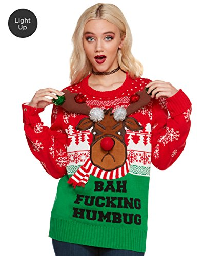 Spencer Gifts Light Up Ugly Christmas Sweater - Bah Fucking Humbug (Spencer Gifts)