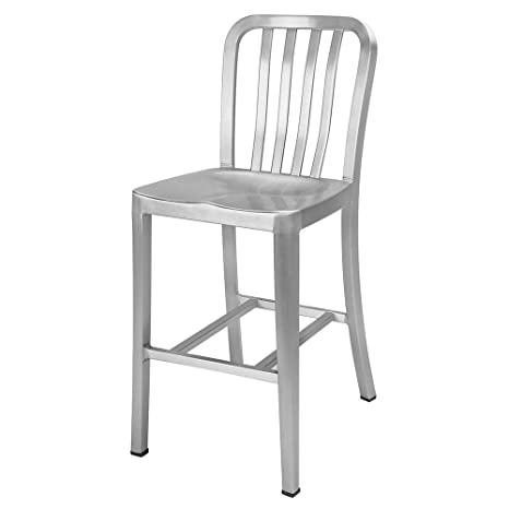 Awe Inspiring Renovoo Aluminum Counter Height Bar Stool Brushed Aluminum Finish 24 Inches Seat Height Indoor And Outdoor Use 1 Pack Download Free Architecture Designs Viewormadebymaigaardcom
