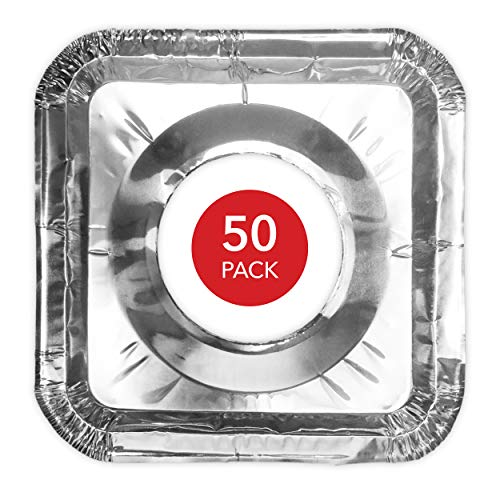 Gas Stove Burner Covers (50 Pack) Disposable Aluminum Foil Gas Stove Drip Pans - 8.5 Inch Square Burner Cover Liners Great for Keeping Gas Range Stoves Clean from Oil and Food Drips