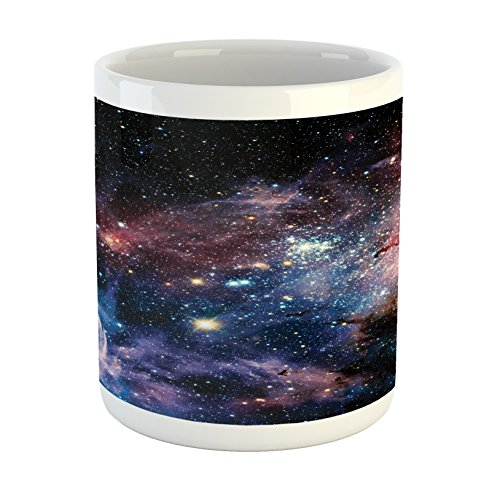 - Lunarable Outer Space Mug, Stars Nebula Colorful Pattern in Space Galaxy Astronomic Magical Picture Print, Printed Ceramic Coffee Mug Water Tea Drinks Cup, Navy Pink