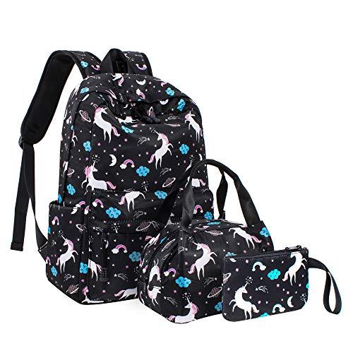 Leaper Cute Unicorn Backpack School Bag Travel Bag Daypack Lunch Bag Purse Black