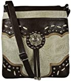 Texcyngoods Womens Western Style Crossbody Bag Tooled Purse with Concho Handbag (Creme), Bags Central