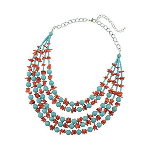 Bocar Layered Strands Turquoise Statement Chunky Necklace for Women Gifts (NK-10524-turquoise+red) by Bocar