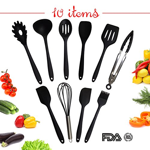 Utensil Set – Kitchen Cooking Utensil Set – Silicone Kitchen Tool Set – Home Cooking Accessories for Baking – Big Utensil Set of 10 items – Spoons, Ladle, Slotted Turner, Brush, Spatula, Tongs, Whisk