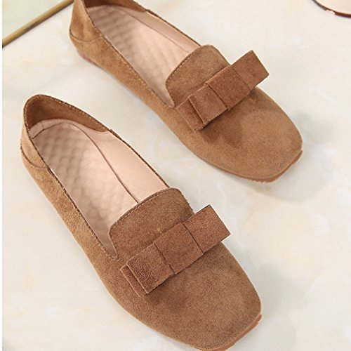 Low Square Top Bowknot Slip Loafer Version On Womens Heels Shoes Hoxekle Toe Low Korean Suede SxwYf4gZ
