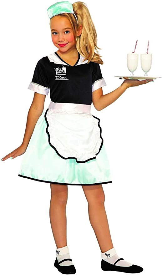 Kids 1950s Clothing & Costumes: Girls, Boys, Toddlers Forum Novelties Childs 50s Diner Waitress Costume As Shown Small $14.99 AT vintagedancer.com