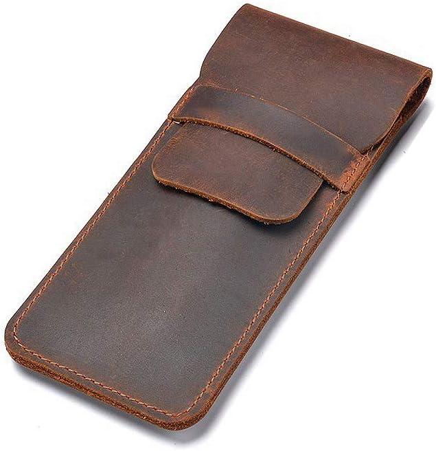 Daimay Titular de la caja de la pluma de cuero Fuente hecha a mano Bolsa de plumas múltiples Cuero de caballo loco Funda protectora de la pluma Grande - Marron