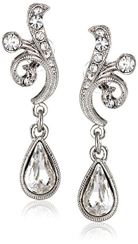 1928 Jewelry Silver-Tone Crystal Scroll Teardrop (Tone Scroll)