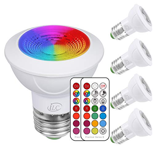 - iLC LED Light Bulbs Color Changing E26 Screw 45°, 12 Colors 3W Dimmable Warm White 2700K RGB LED Spot Light Bulb with Remote Control, 20 Watt Equivalent (Pack of 4)