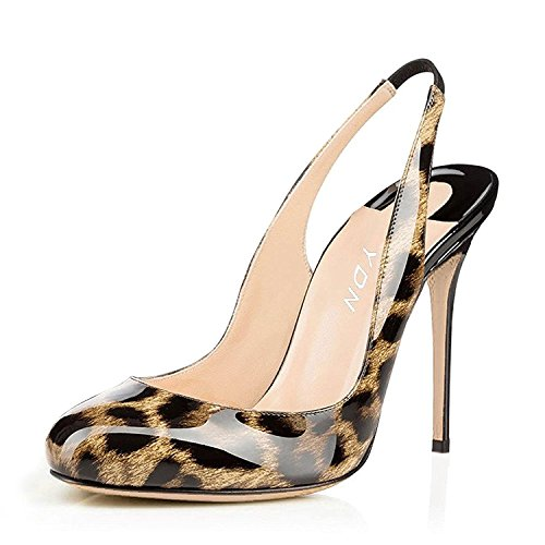 - YDN Women Round Toe High Heels Pumps Slip on Stiletto Patent Evening Shoes with Slingback Amber-Leopard 8