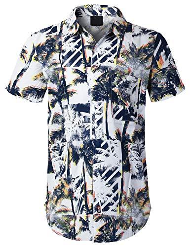 URBANCREWS Mens Hipster Hip Hop Palm Tree Box Short Sleeve Shirt Blue, -