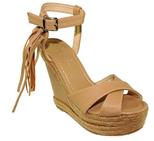 Betani Womens Shiloh-3 Ankle Strap Peep Toe Tassel Espadrill Wedges Platform Sandals Nude zOYWdWy