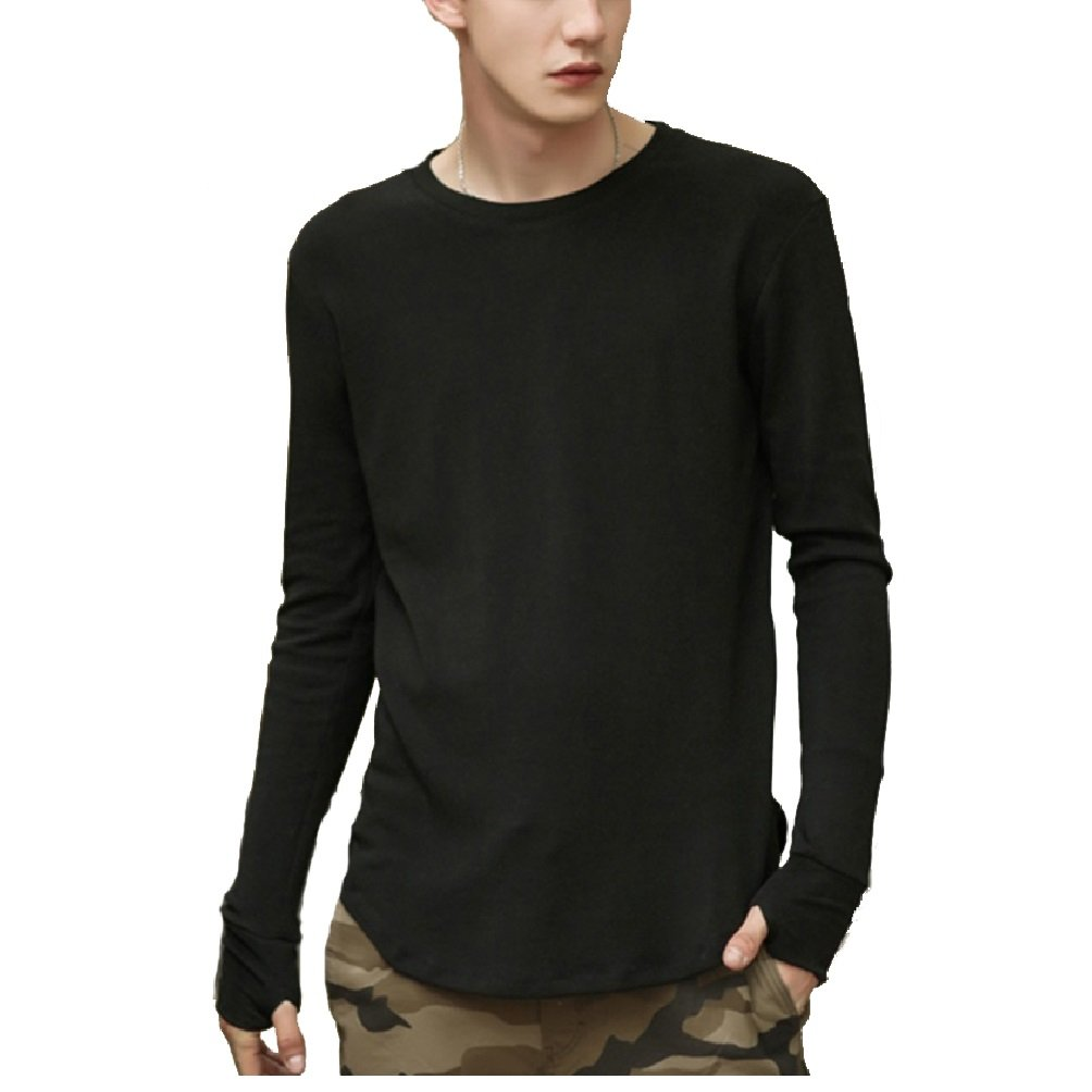 Men's Basic Pure Cotton Extended Long-Sleeve O-Neck T-Shirt