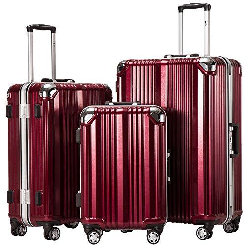 (Coolife Luggage Aluminium Frame Suitcase 3 Piece Set with TSA Lock 100% PC)