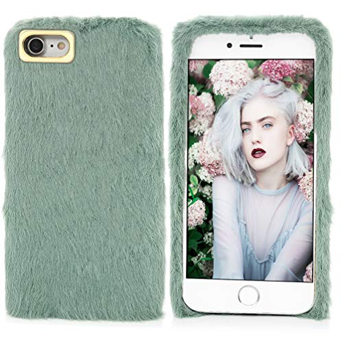 iPhone 7 Case,iPhone 8 Case, [Slim Fit] [Plush Case] Stylish Cute Furry Artificial Fur Bling Crystal Rhinestone Design Fluffy Soft Case Cover for iPhone 7/iPhone 8