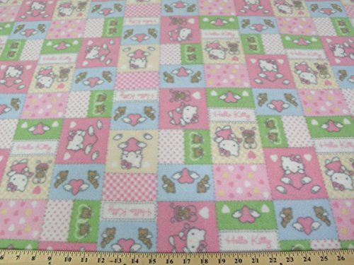 Hello Kitty Pastel Patches Fleece Fabric A14