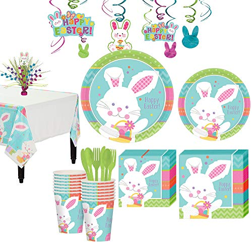 (Party City Hippity Hop Easter Bunny Tableware Kit for 16 Guests, 144 Pieces, Includes Plates, Napkins, and)
