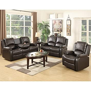 Phenomenal Mecor 3 Piece Sofa Set Bonded Leather Reclining Living Room Home Interior And Landscaping Oversignezvosmurscom