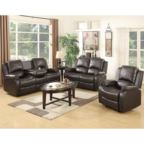 Mecor Bonded Leather Recliner,Living Room Reclining Sofa Furniture (1 Seat+2 Seat+3 Seat, Brown)