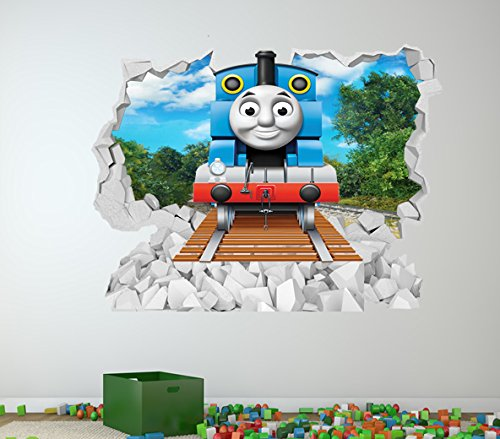 High Quality THOMAS THE TANK ENGINE FULL COLOUR WALL STICKER   GIRLS BOYS BEDROOM C327  Size: Large Part 4