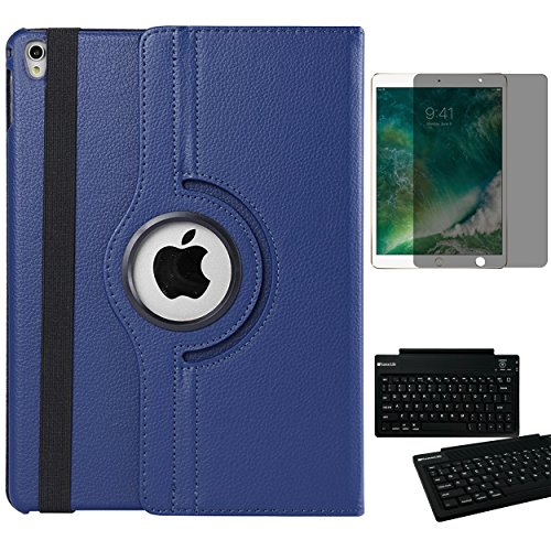 Pebbled Pedestal - 360 Rotatable Navy Blue Protective Folio Case with Built-in Multi Angle Stand and Viewing Modes + Tempered Glass Privacy Screen Protector & Keyboard for iPad Pro 10.5