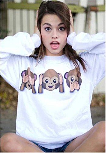 FEITONG Para mujer del mono Emoji Algodón Impreso de manga larga sudadera Camisa remata la blusa 3 colores blanco
