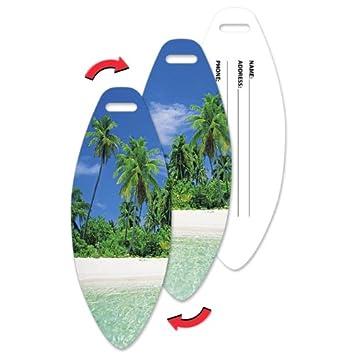 Tema # ltsb-370 - etiqueta para equipaje, 1,85 x 4,8 pulgadas, con forma de tabla de surf tropical hawaiano paraíso funda Lenticular efecto: Amazon.es: ...