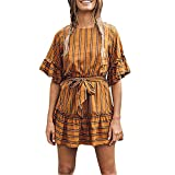 Ximandi Women Fashion Plus Size Striped O-Neck Ruffles Bandage Short Sleeve Loose Dress Yellow