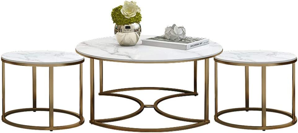 Contemporary 3 Piece Coffee Table Set Includes Cocktail Table Two End Tables Marble Tabletop And Metal Base Nesting Table Amazon Co Uk Kitchen Home