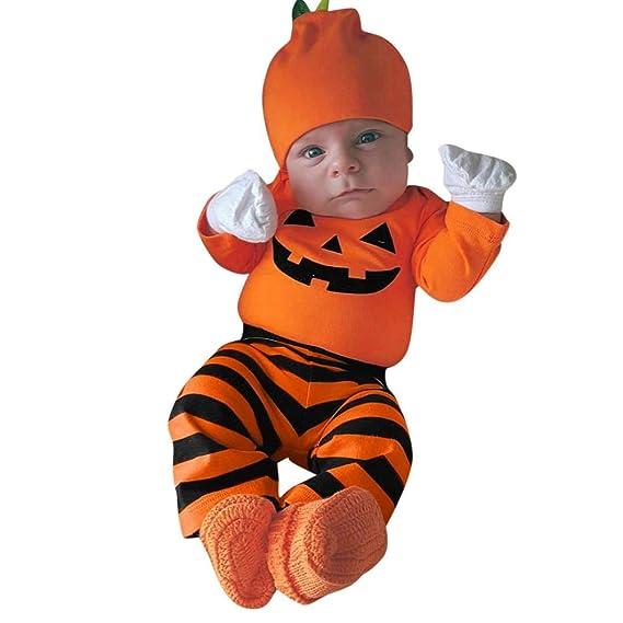 DEELIN Bebé De Manga Larga Halloween Romper + Pantalones De Rayas + Sombrero Conjunto Naranja/