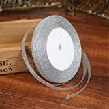 Yard - Yard Silver Silk Satin Ribbon Party Home Wedding Decoration Gift Wrapping Christma Diy Material - Laurel Wreath Silken Typewriter Slick Thread Sleek Medallion Satiny - 1PCs