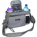 DELUXE STROLLER ORGANIZER with Wristlet Wallet - Stylish Storage Fits All Strollers - Holds Phone, Keys, Toys, Wipes & Baby Items - 2 Deep Cup Holders - Best Stroller Accessories & Baby Gifts