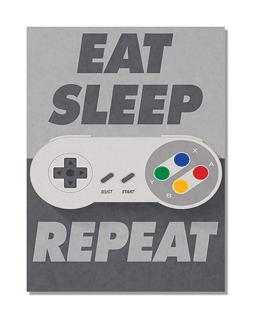Funky NE Ltd Eat Sleep Game Repeat - Retro Video Gaming ...